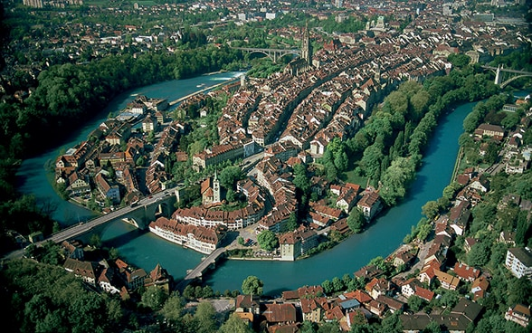 Bird's eye view of the Old City of Bern. This UNESCO World Heritage Site is home to one of the longest shopping arcades in Europe.