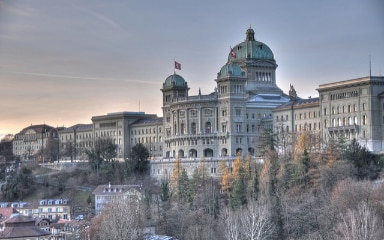 Exterior view of the Federal Palace in Bern.