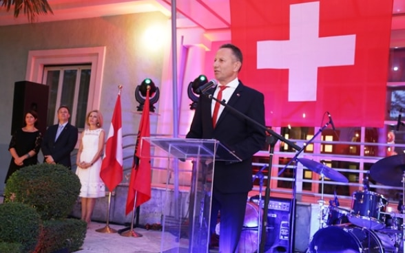 Swiss Ambassador Christoph Graf addressing guests at the reception celebrating the Swiss National Day