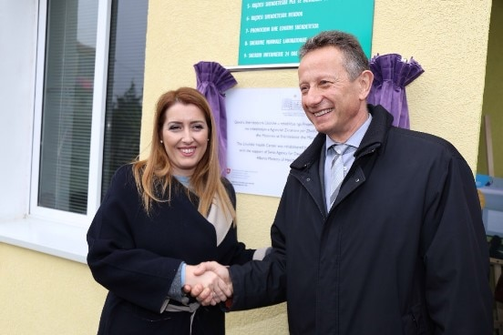 Albania's Minister of Health Ogerta Manastirliu with Swiss Ambassador Christoph Graf inaugurating the renovated health centre in Libofshë, south of Tirana.