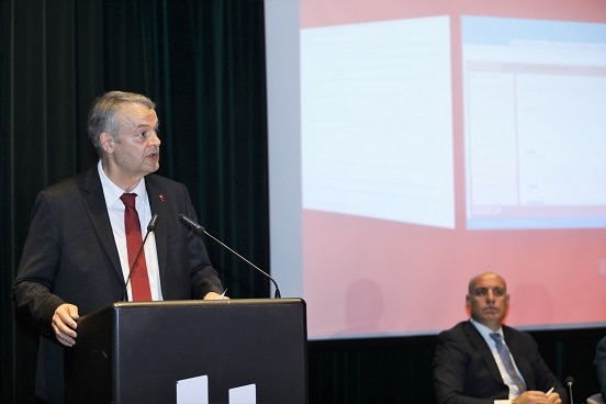 Swiss Ambassador in Albania Adrian Maître addressing the launch of the public administration portal, Tirana, 26.04.2019.