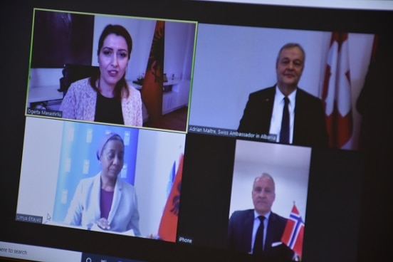 Virtual signing of agreement to buy respirators by Albania's Minister of Health Ogerta Manastirliu (top left), Swiss Ambassador Adrian Maître (top right), UNDP Representative Lymia Eltayeb (bottome left), and Norwegian Ambassador Jens Erik Grondahl (bottom right).
