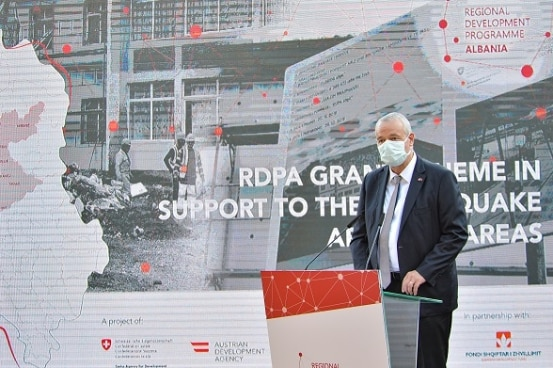 Swiss Ambassador Adrian Maître launching the regional grant in support of earthquake rebuilding, Durrës, Albania.