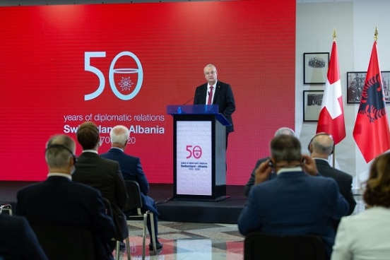 Swiss Ambassador in Albania Adrian Maître opening the conference and exhibition on 50 years of diplomatic relations between Switzerland and Albania.