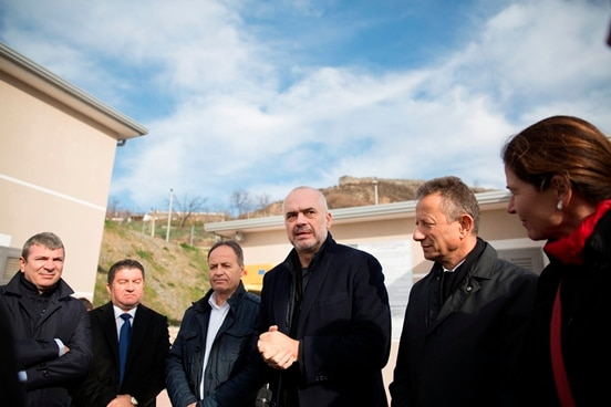 Swiss Ambassador Graf and German Deputy Ambassador Holstein with Albania's PM Rama inaugurating the new Lezha water supply system.