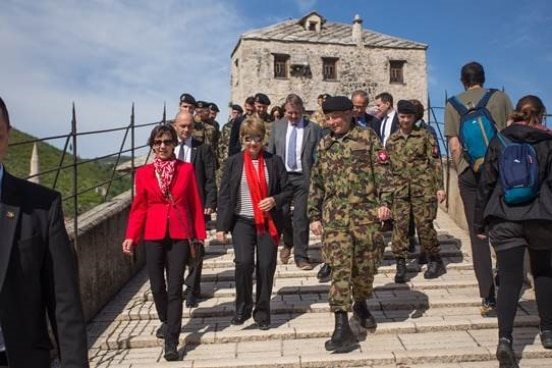 The Swiss Federal Councilor and Head of DDPS Viola Amherd with the Swiss Ambassador to BiH Andrea Rauber Saxer and the Swiss army officials during her visit to Mostar