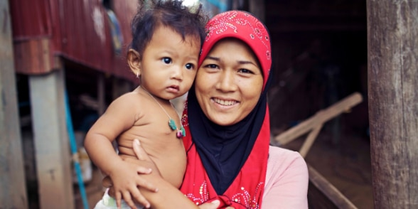 Cambodian mother with her child