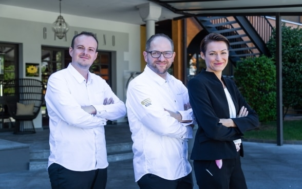 Two Michelin star chef Rolf Fliegauf and his team outside Giardino Hotel in Ascona