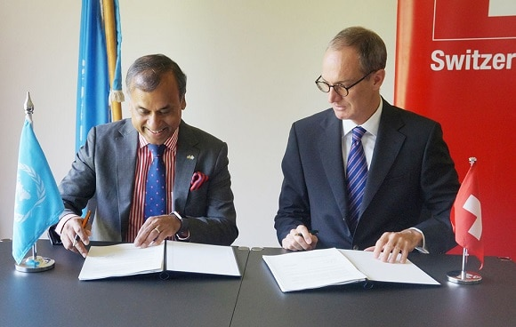 Ambassador of Switzerland to Kenya Mr. Ralf Heckner (right) with UN Resident Coordinator to Kenya Mr. Siddharth Chatterjee sign the agreement for Switzerland's support to strengthen the capacity of the UN Resident Coordinator's Office in Kenya