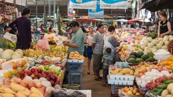 Open air fresh market in Vientiane Capital City, Lao PDR.