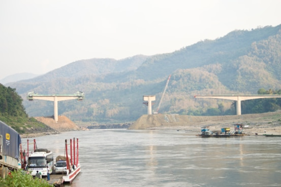 Mekong river bridge to replace ferry crossing in Xayaburi, Lao PDR.
