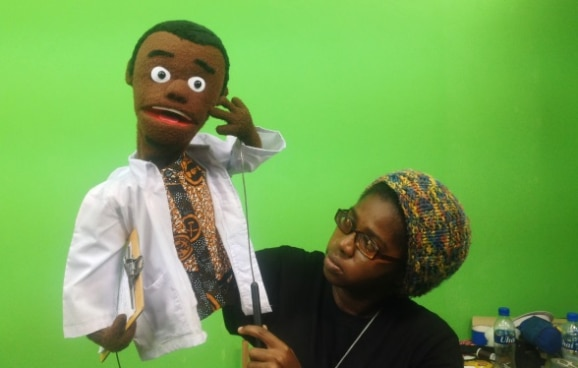 'Ubandani' puppet show production in progress. The show is one of five projects supported by Switzerland in promoting anti-corruption messages through art.