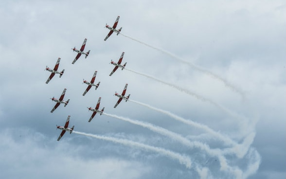 Flight formation with nine aircrafts
