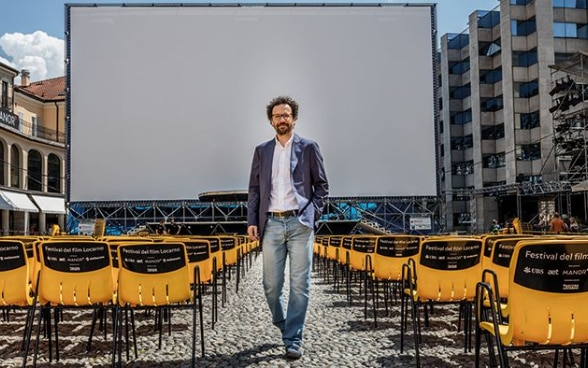 Artistic director Carlo Chatrian on the Piazza Grande in Locarno