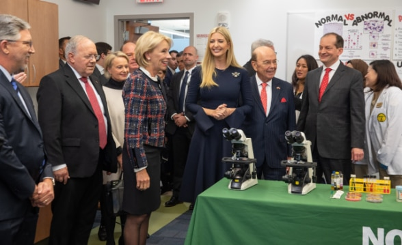 Swiss Federal Councillor Johann N. Schneider-Ammann joins Secretaries DeVos, Ross, Acosta, and Advisor to the President Ivanka Trump in a tour of NOVA's Nurse Aid Program.