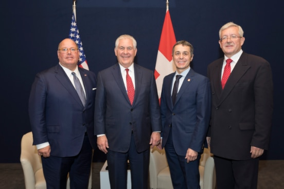 Ambassador of the United States of America to Switzerland Ed McMullen, U.S. Secretary of State Rex Tillerson, Federal Councilor Ignazio Cassis, Ambassador of Switzerland to the United States of America Martin Dahinden