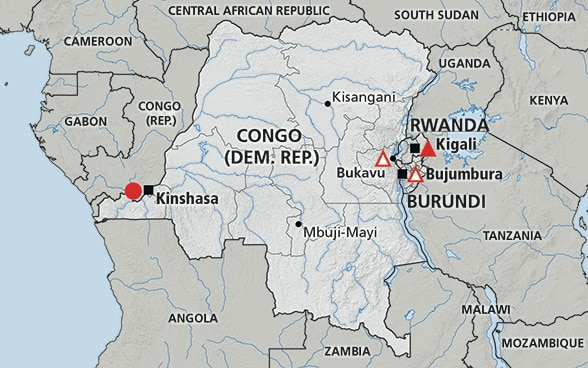 Map of the region Great Lakes Region (Rwanda, Burundi, DRC)