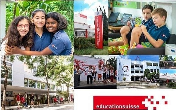 The picture shows a collage with impressions from Swiss schools in other countries. Pictured are the facades of individual schools and children doing various activities.