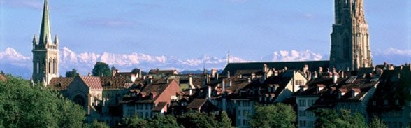 Old city of Bern with the Alps in the background