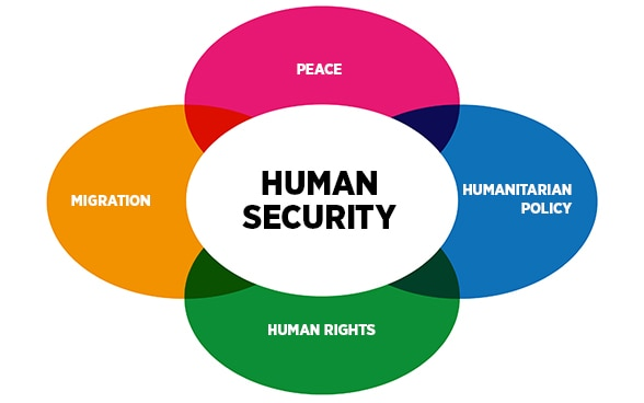 The four policy sectors of the Human Security Division are peace, human rights, humanitarian policy and migration.