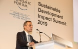 Federal councillor Ignazio Cassis addresses the WEF Sustainable Development Impact Summit.