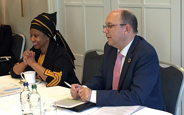 Phumzile Mlambo-Ngcuka, executive director of UN Women, answered questions from the media together with Thomas Gass, assistant director general of the SDC.