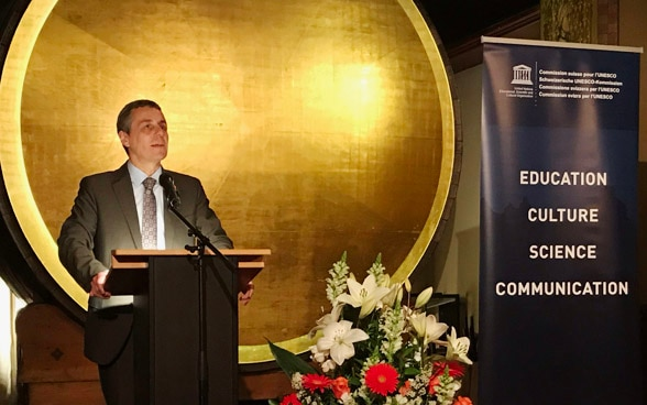 Federal Councilor Ignazio Cassis during his speech on the occasion of Switzerland's 70-year membership of UNESCO