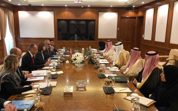 Pascale Baeriswyl and the Swiss delegation in conversation with official representatives of the Saudi Arabian government