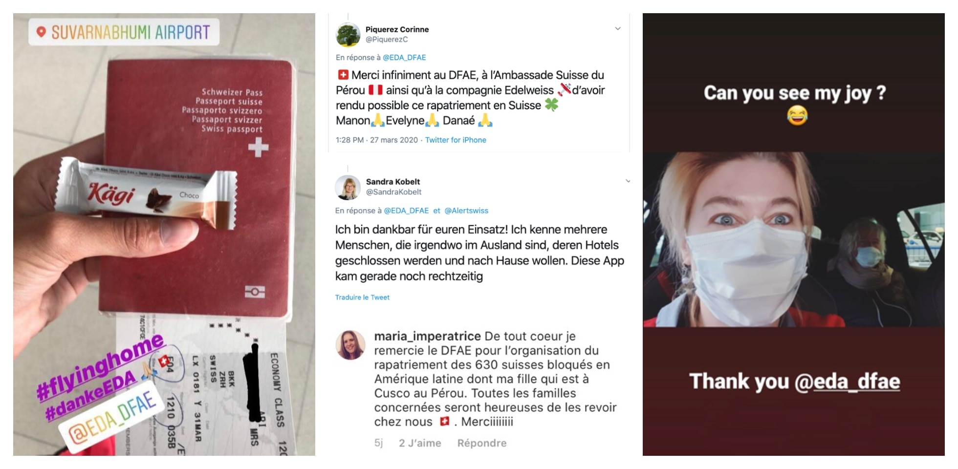 Screenshots of Twitter and Instagram posts in which Swiss travellers thank the FDFA for the rapatriation action.