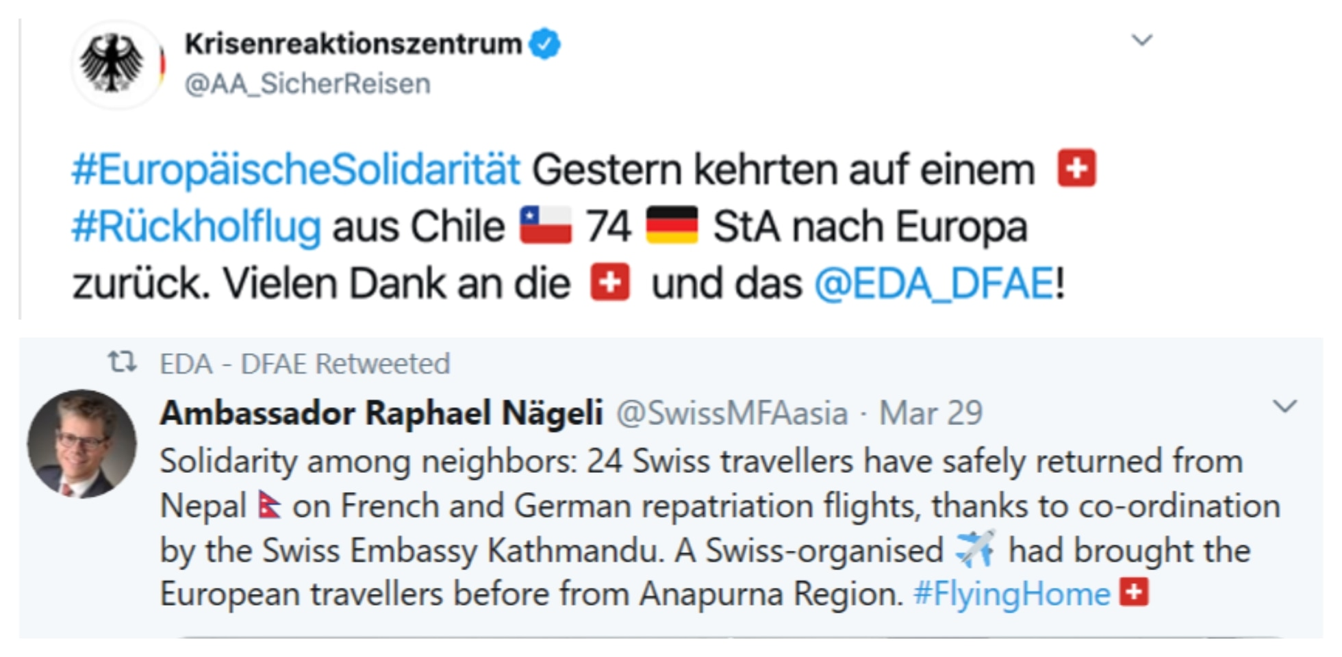 Screenshots of two tweets in which Germany thanks Switzerland and Switzerland thanks Germany for return flights.