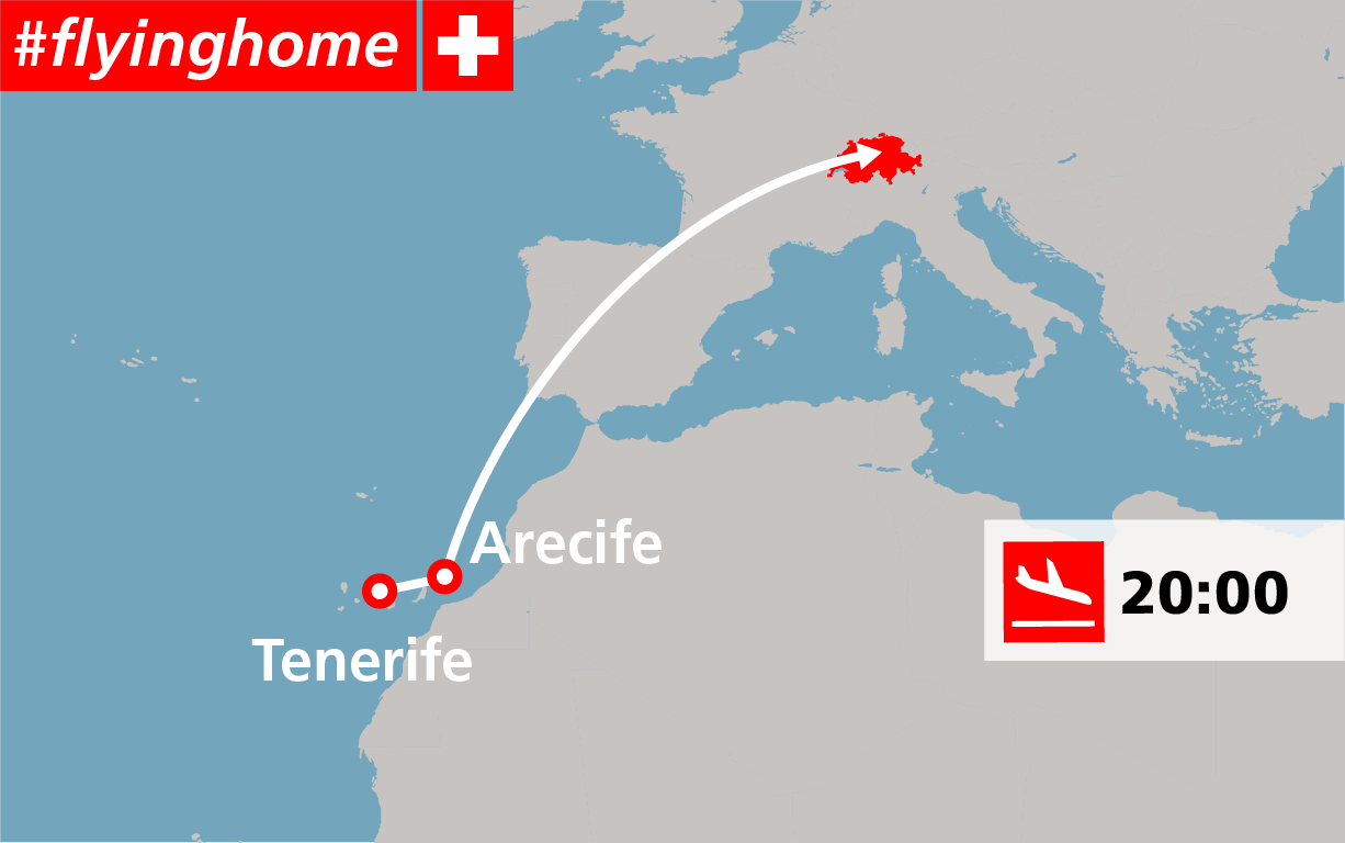Map of the flight route Tenerife, Arecife, Switzerland