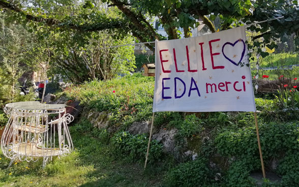 "There is a poster in a garden that states "" Ellie, EDA merci ""."