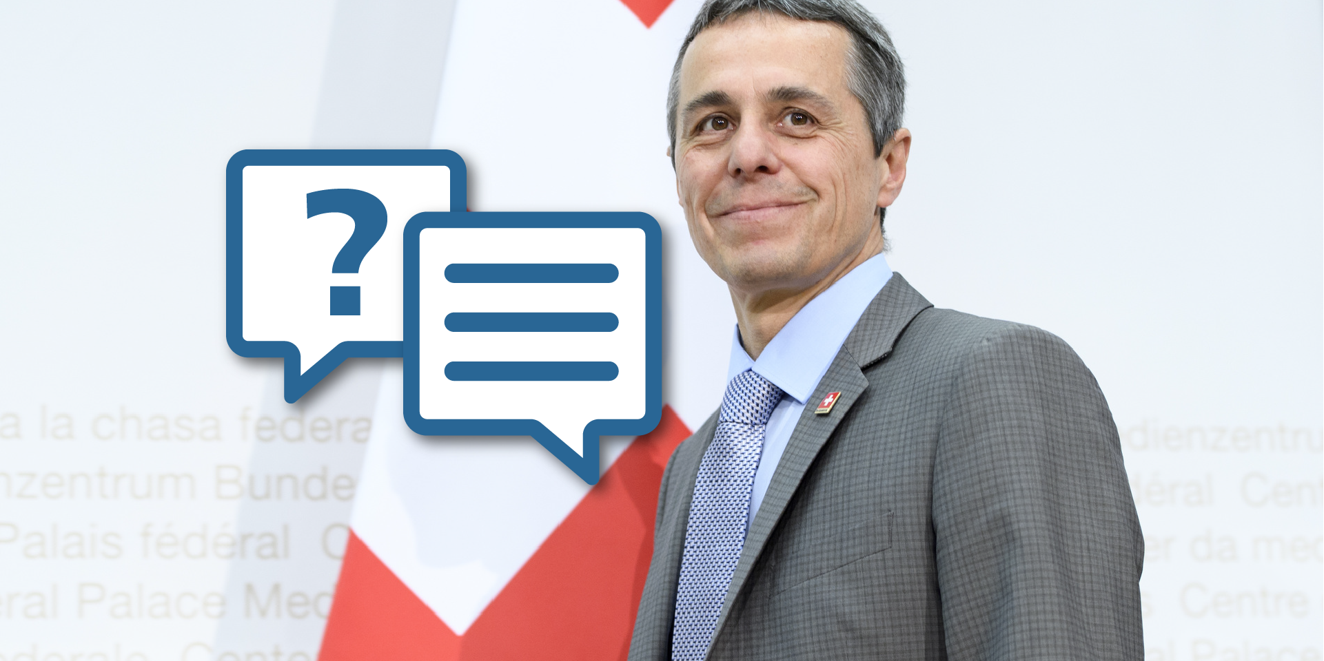 A portrait picture of Federal Councillor Cassis with a graphic motif referring to an interview.