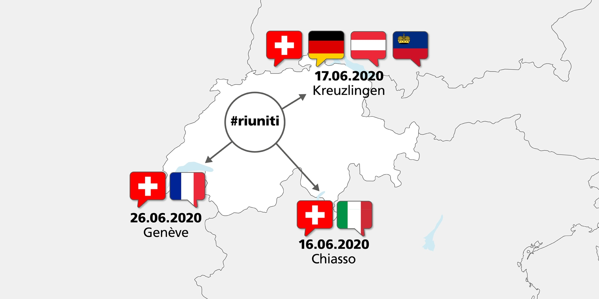 Map of Switzerland showing which national representativesFederal Councillor Cassis will be meeting and where. In Chiasso he meets the Italian Foreign Minister. In Kreuzlingen he will meet representatives of Austria, Liechtenstein and Germany, and in Geneva, a representative of France.
