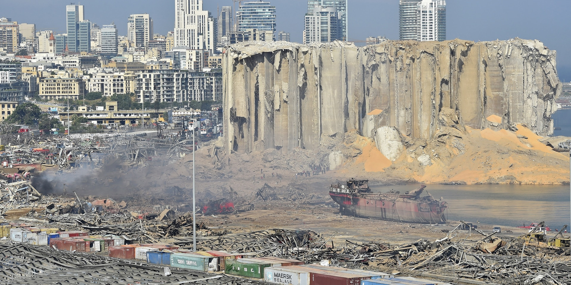 A general view of the destroyed port in the aftermath of the massive explosion in downtown Beirut, Lebanon.