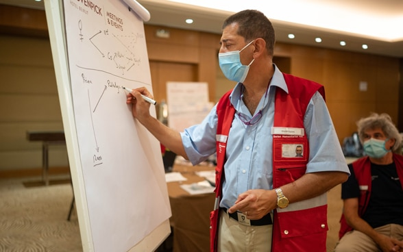 Dr Walid Habre is working on a triage concept for hospitals at the headquarters of the rapid response team.