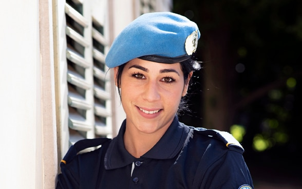Photograph of Leila in police uniform