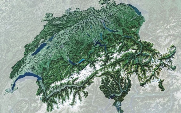 The Jura, Alps and Central Plateau are clearly shown on this topographic map of Switzerland.