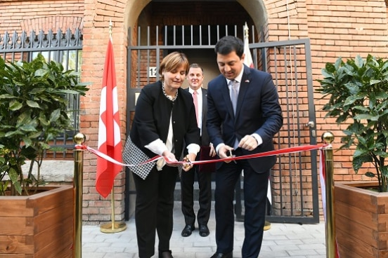 The President of the Swiss Parliament and the Chairperson of the Georgian Parliament cut the ribbon in front of the new Embassy Building