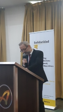 Mr. Matthias Feldmann giving remarks at the launching ceremony of SWAPP II and CORIP II in Accra