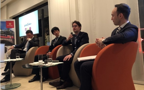 From left: Mr. Fabien Clerc, Director Switzerland Tourism Japan, Mr. Tomoya Sakaguchi, Mr. Jonas Rüegg, Mr. Jonas Pulver, Head of Culture and Communications Section  ©Embassy of Switzerland in Japan