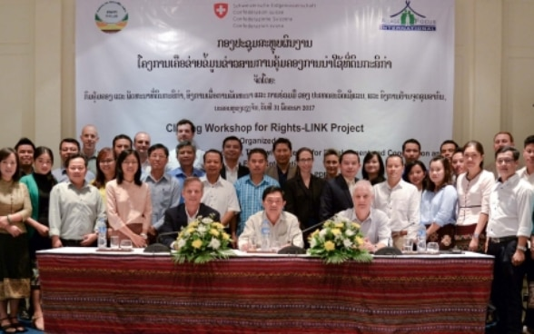 Mr. Tim Enderlin, Ms. Michal Harari, Mr. Senthong Phothisane of SDC and the participants of the Rights-Link closing workhsop.