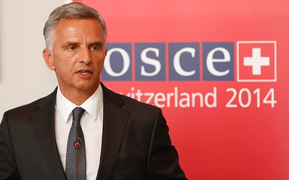 Didier Burkhalter, Chairperson-in-Office of the OSCE, answering questions at the press conference of the 2014 Annual Security Review Conference in Vienna