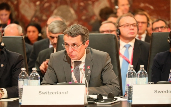 Federal Councilor Ignazio Cassis speaks at the occasion of the OSCE Ministerial Council Conference.